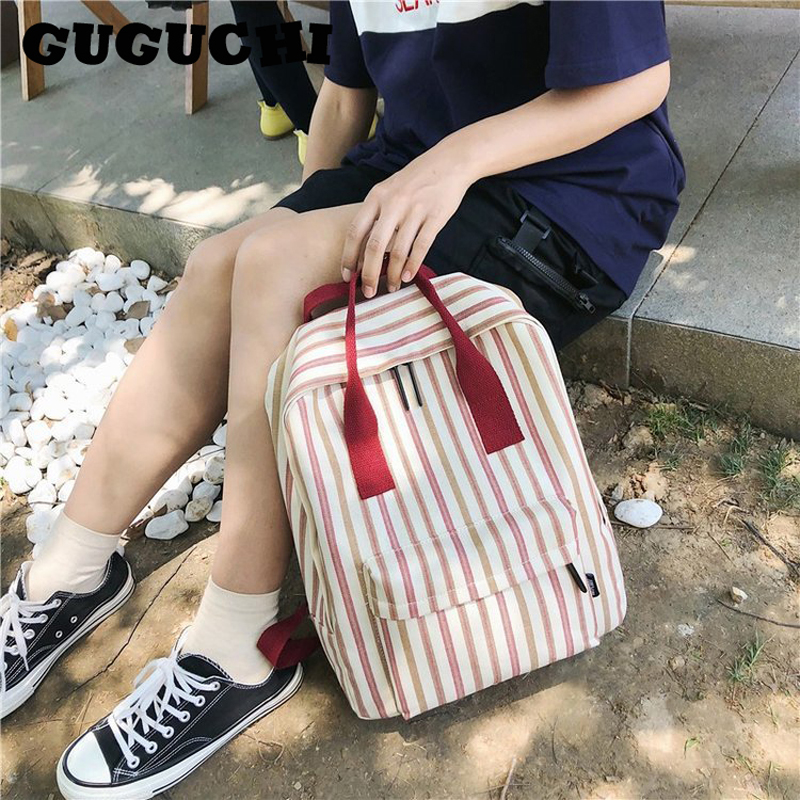 Canvas Backpacks Women 2020 Summer New Fashion Preppy Style Stripe Classic Female Casual Students School Bags Shoulder Bags