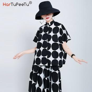 цена на Black Polka Dot Blouse Women 2020 Summer Tops Plus Size Loose Short Sleeve Shirt Stylish Back Wrap Layered Cropped Design