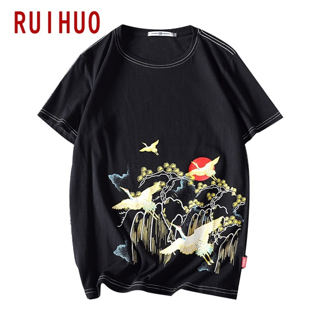 RUIHUO nadruk żurawia męska koszulka moda Streetwear 2020 koszulka hiphopowa męska koszulka japońska odzież męska M-5XL
