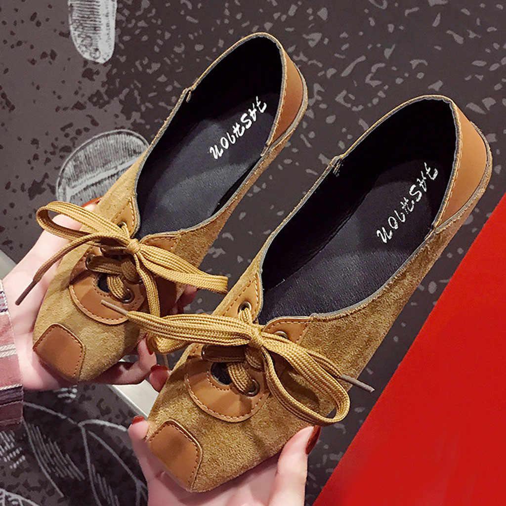 Jaycosin Thời Trang Đế Phẳng Giày Mùa Xuân, Mùa Thu Chất Lượng Da PU Giày Người Phụ Nữ Trơn Ballerina Bãi Thoải Mái Thuyền Giày