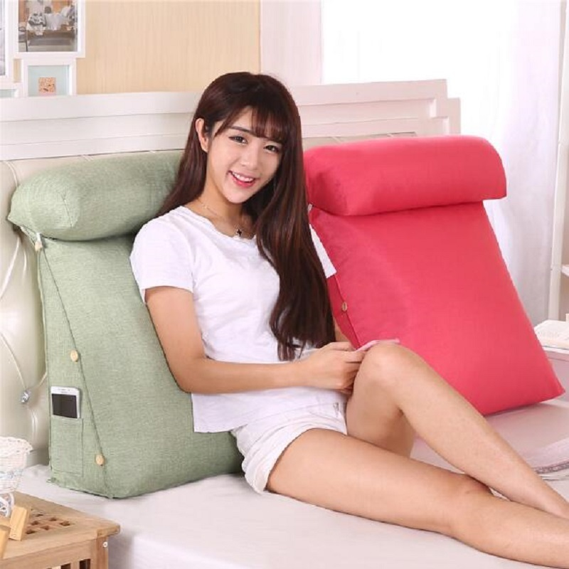 Stereo Wedge Shape Backrest Pillow Waist Cushion Washable Cotton Linen Sofa Cushions Bed Rest Maternity Lounger Reading Pillow