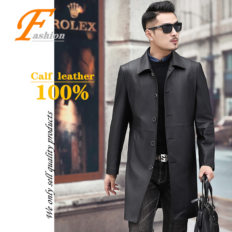 High-grade new men's casual comfortable breathable fashion pure color keep-warm all-match No-iron 100% calf leather jacket coat