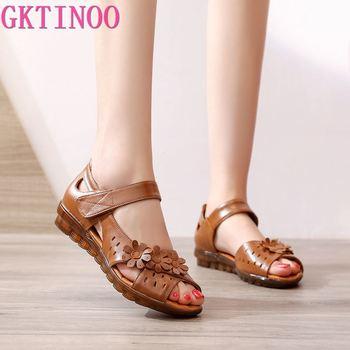 GKTINOO Genuine Leather Peep Toe Ladies Sandals Summer Shoes Women Low Heel 2020 Hook & Loop Soft Comfort Flat Woman