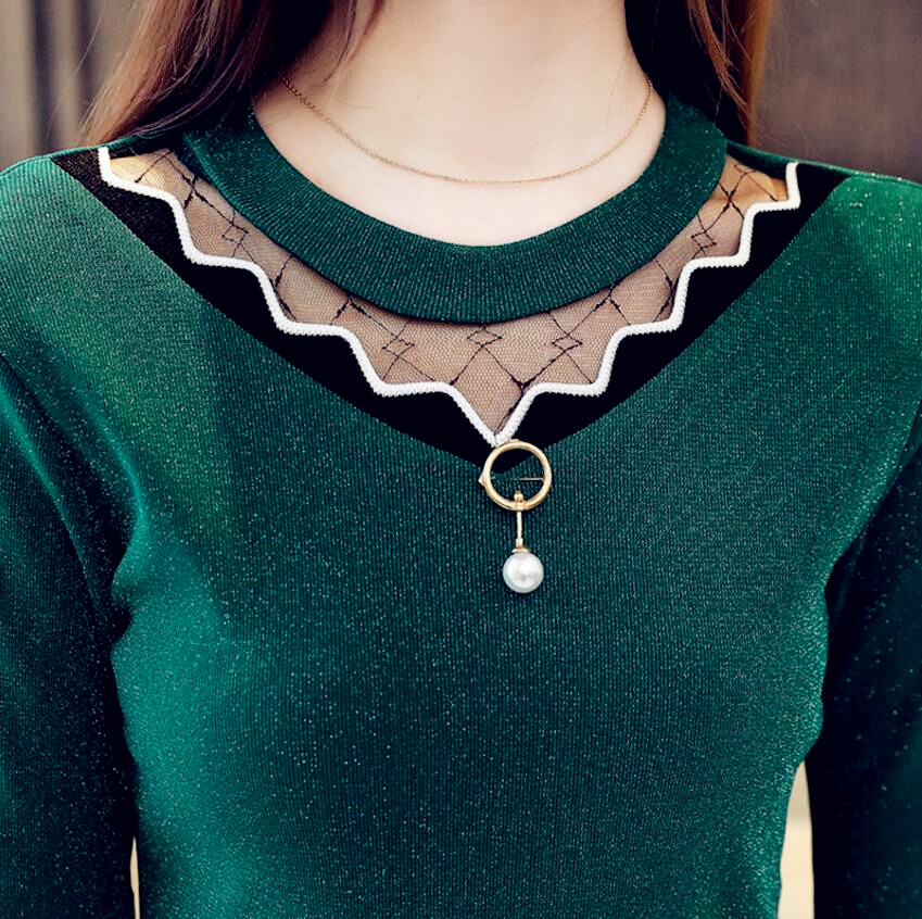 2019 Winter Spring Women Chiffon Tops Lace Plus Size Slim Elegant Shirts Long Sleeve Pull Female Sexy Dress Sweaters Pullovers