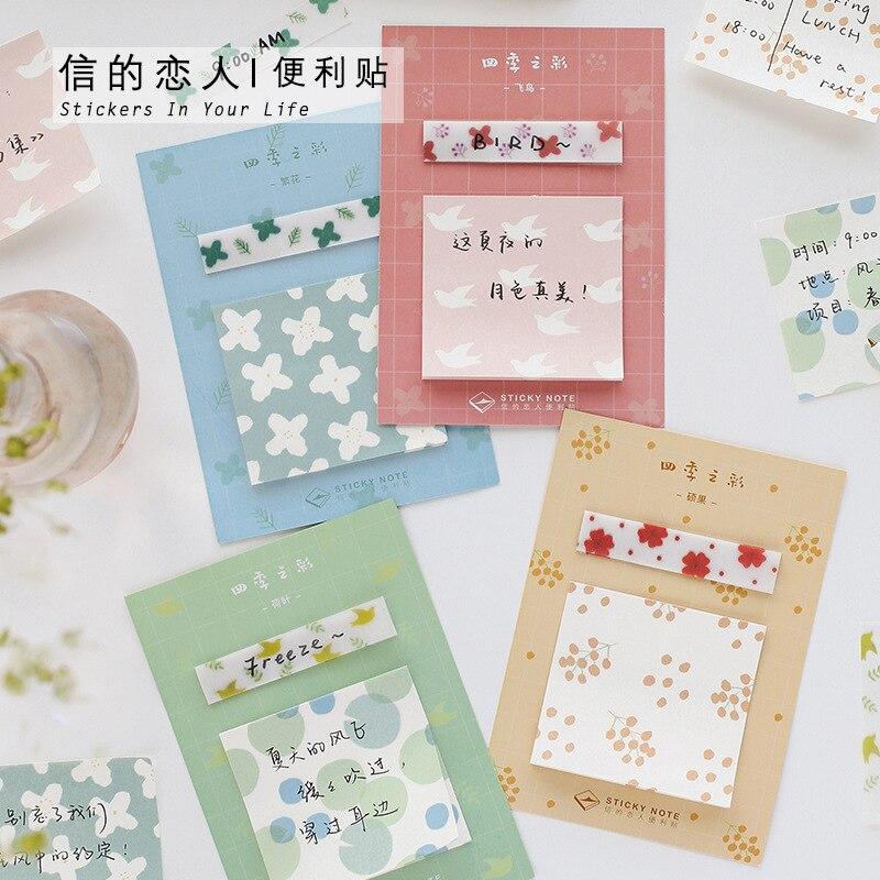 Lotus Leaf Four Seasons Colorful Series Memo Pad Sticky Notes Memo Notebook Stationery Papelaria Escolar School Supplies