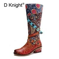 Vintage femmes genou bottes en cuir véritable bottes d'équitation automne hiver bout rond haut talons carrés Western Cowgirl bottes chaussures
