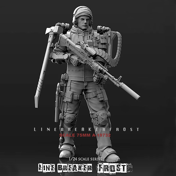 1/24 Resin Kits Figure LinebreAkerFrost Walking Machine, Machine Gunner, Resin Soldier  Self-assembled (75mm)A-19732