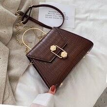 Женские сумки через плечо с каменным узором из искусственной кожи, маленькие сумки с металлической ручкой, женские сумки через плечо