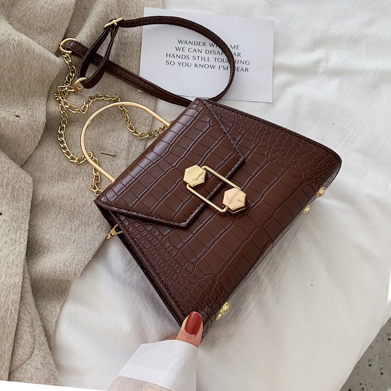 Stone Pattern PU Leather Crossbody Bags For Women 2019 Small Totes With Metal Handle Lady Shoulder Messenger Bag Handbags