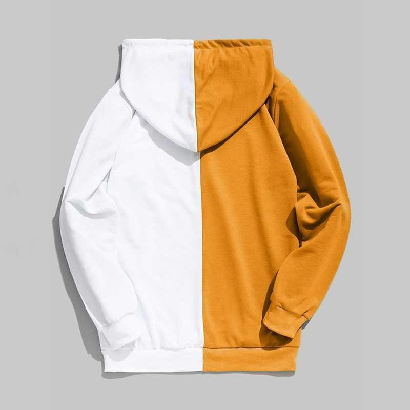 Manches longues hommes sweats à capuche demi noir demi blanc Cool sweats à capuche uni hommes Patchwork coton sweat mâle à capuche mode femmes