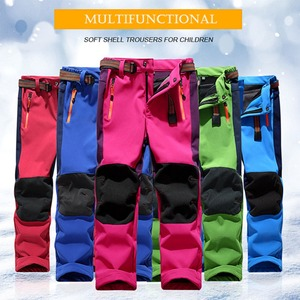 Image 2 - Facecozy Kids Winter Thicken Outdoor Sports Pants With Fleece Windproof Warm Softshell Trousers Children Adventure Camping Pants