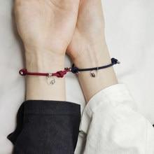 Conjunto de 2 uds. De pulseras emparejadas para parejas para mujer, pulsera con Cierre magnético, brazalete de distancia para hombre y amante, venta al por mayor