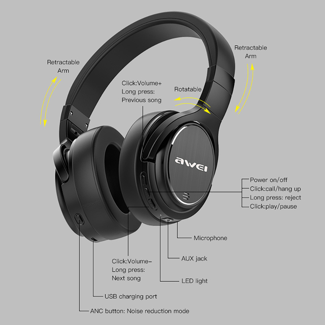 Awei A950BL Bluetooth V4.1 Active Noise Cancellation Headphones 3