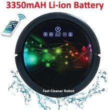 WiFi Smartphone App Control mopa húmeda y seca aspiradora inteligente Robot QQ6 con tanque de agua, batería de litio de 3350MAH