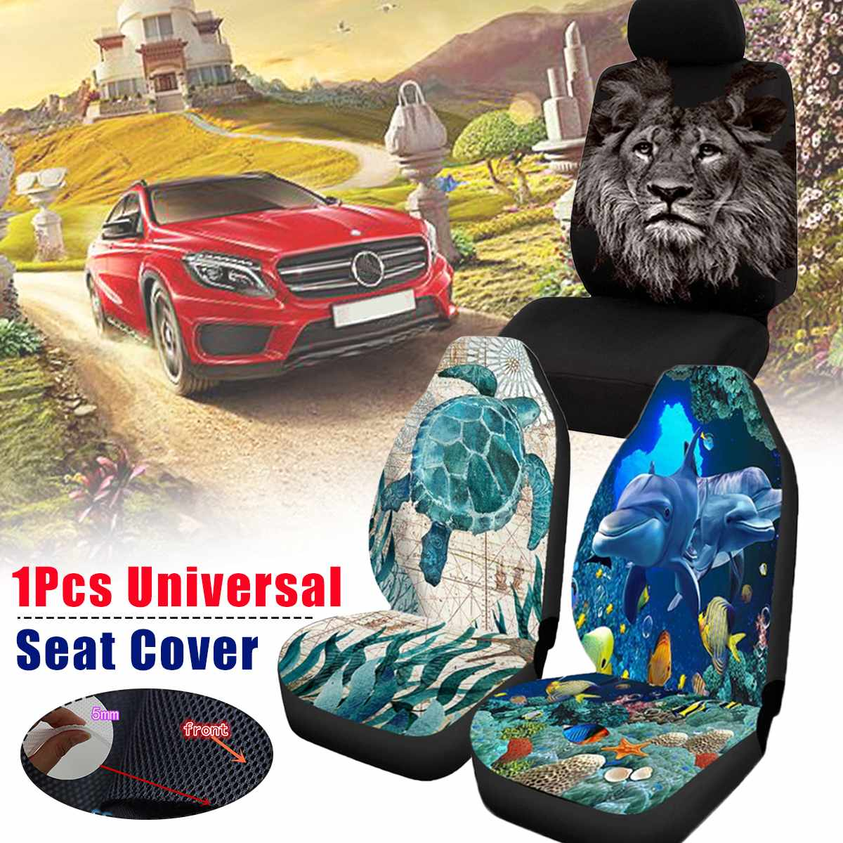 Universal Animal Sea Turtle Dolphin Lion Printed Car Seat Cover Elastic Auto Seat Cushion Protector Cover For Car SUV