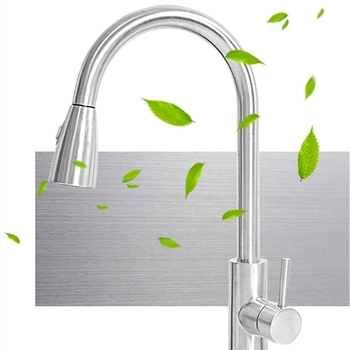 Brushed nickel mixer tap single hole pull-out sink kitchen flow sprayer head chrome/kitchen