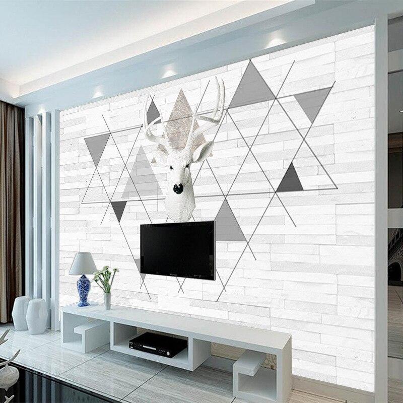 Northern European-Style Creative Wallpaper Minimalist Modern Living Room Elk 3D Wallpaper Film And Television TV Backdrop Cloth