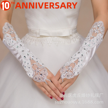 Guantes cortos De boda De olymurs, guantes para novia sin dedos para mujer, guantes De encaje rojo para novia, accesorios De novia para boda