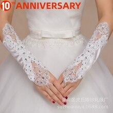OLLYMURS Short Wedding Gloves Fingerless Bridal Gloves for Women Bride Red Lace Gloves Luva De Noiva Wedding Accessorie
