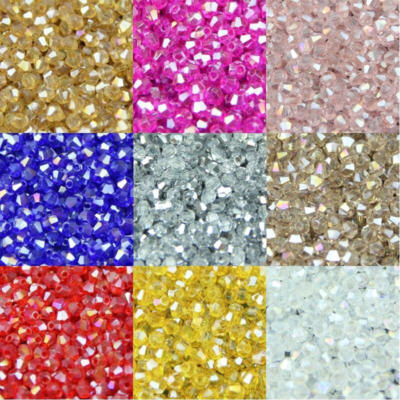 JHNBY 3mm 200 stücke AAA Doppelkegel Gehobene Österreichischen kristalle perlen AB farbe überzug Lose perle armband Schmuck Machen Zubehör DIY