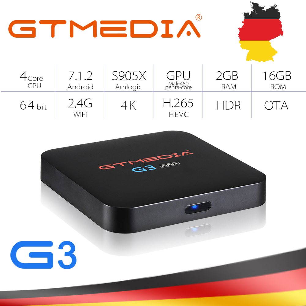 GTMEDIA G3 IPTV Box Android 7.1 Amlogic S905X 2GB/16GB WiFi Bluetooth 4K HD H.265 thousands of android app and games Set Top Box image