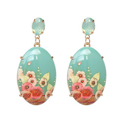 Retro resin printing earrings exaggerated personality earrings European and American women fashion earrings jewelry