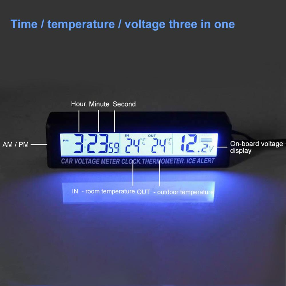 LED Alarm Clock Digital Table Clock <font><b>Car</b></font> <font><b>Electronic</b></font> Large Time Temperature Vehicle Voltage Alarm Display Wholesale Quick delivery image