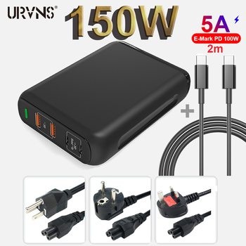 URVNS 4 Port 150W GaN USB C Power Adapter Support PPS AFC FCP PD3.0 QC4.0 3.0 Fast Charging 100W PD USB-C Phone Laptop Charger