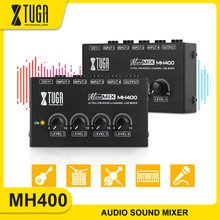 XTUGA 4 Channel Sound Mixer Professional Ultra Low-Noise Audio Sound Mixer Amplifier for Keyboards,Mixers,Musical Instruments