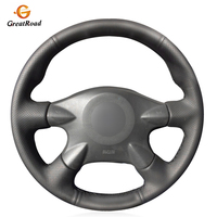Black  PU Artificial Leather Car Steering Wheel Covers Wrap for Nissan Almera N16 Pathfinder Primera Paladin X Trail Renault|Steering Covers| |  -