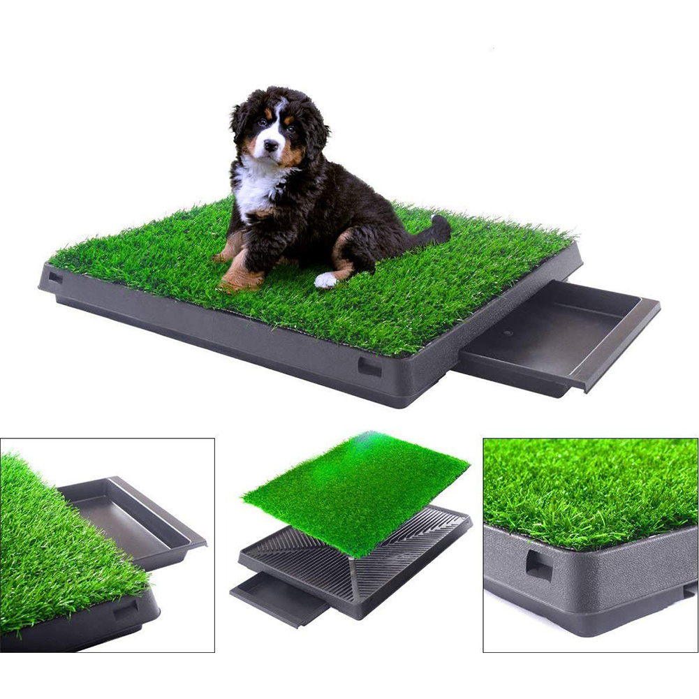 Pet Potty Training Pee Pad Mat Tray Grass House Toilet Pad Grass Pet Loo Tray Portable  Dogs Cats Potty Litter Box Dog Toilet