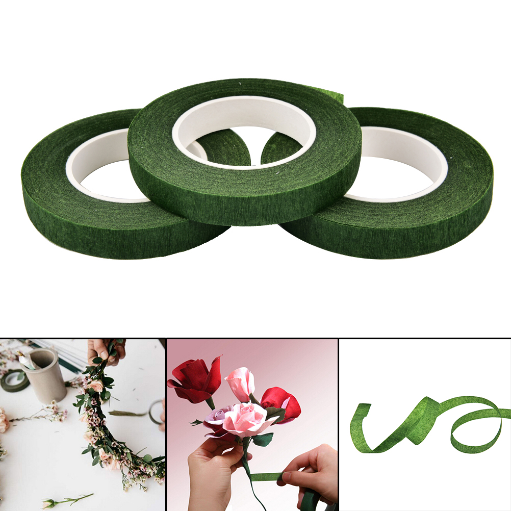 12mm Width Florist Stem Green Color Tape Wire Floral Work Plastron Floral Resealable Elastic Tape Wrap