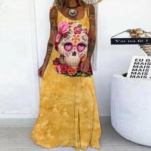 Vintage Streetwear Clothes Women Summer Funny Printed Looes Dress Fashion Harajuku Street Special Skeleton Print Robe Dress 3XL