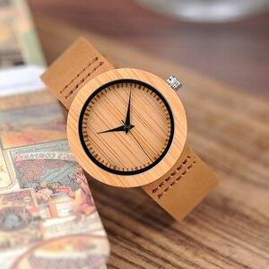 Image 2 - BOBO BIRD Round Bamboo Wooden Women Watch Fashion Ladies Quartz Wristwatch Wood Women Clock in Gift Box Custom Logo Dropshipping