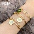 FLOLA позолоченные браслеты с инициальными буквами для женщин 26 алфавит DIY очаровательные браслеты с кубическим цирконием женские ювелирные изделия brtc34 - фото