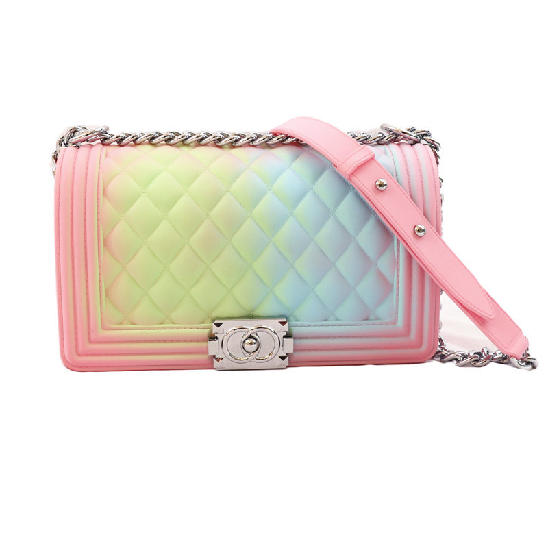 2020 Transparent Purse Jelly Bag Colorful Chain PVC Candy Color Shoulder Bag Messenger Pink Bags Women Plaid Cover Shoulder Bag
