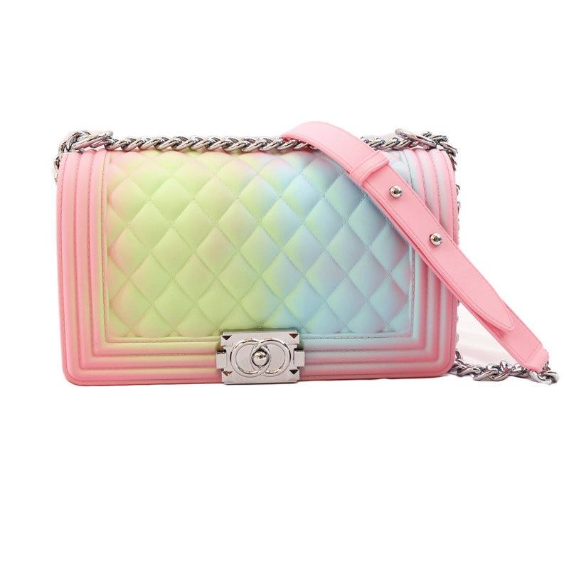 2020 Transparent Purse Jelly Bag Colorful Chain PVC Candy Color Shoulder Bag Messenger Pink Bags Women Plaid Cover Shoulder Bag