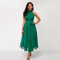Green Summer Dress Women Halter Lace Up Long Sleeveless Dresses Plus Size 5XL Dress Woman Off Shoulder Elegant Chiffon Maxi Dres