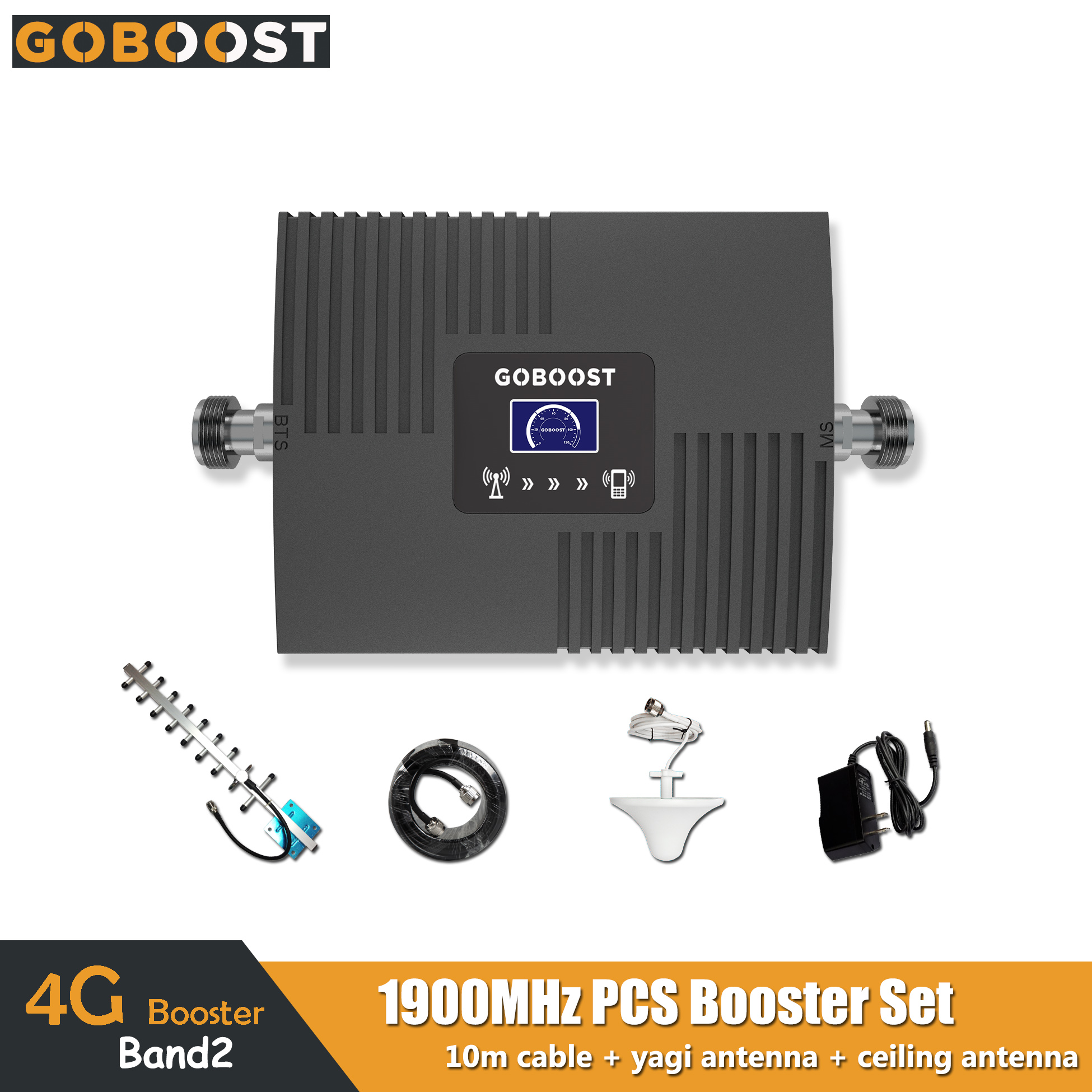 GOBOOST 4G Signal Booster LCD DisplayPCS 1900MHz Band2 65dB Gain Cell Mobile Phone Signal Amplifier PCS1900 Repeater Full Set