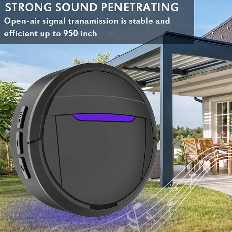 Dog Doorbell, Black & White Wireless Communication Doorbell , Waterproof Smart Bell for Puppies with Super-Light Press Button, I-2