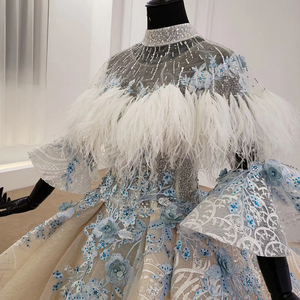Image 5 - HTL1112 özel renkli lüks düğün elbisesi 2020 Cape tüy yarım kollu aplikler gelin kıyafeti