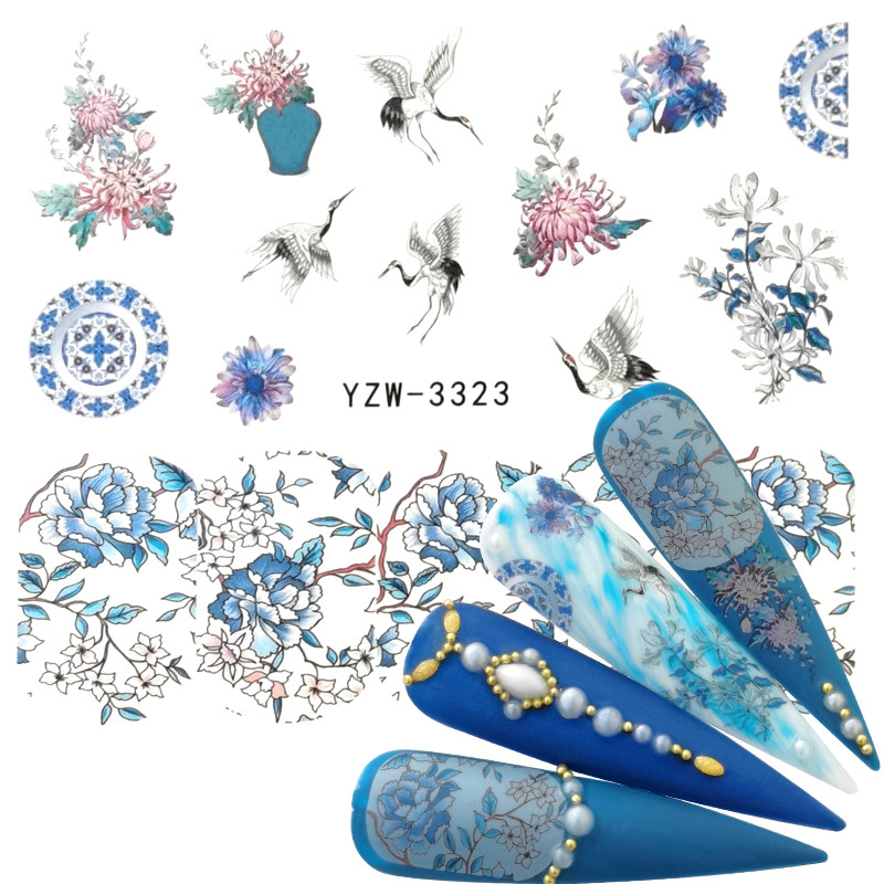 YWK 2020 New Arrival 1 PC Nail Art  Flower Blue Colors Rose Water Design Tattoos Nail Sticker Decals For Beauty Manicure Tools