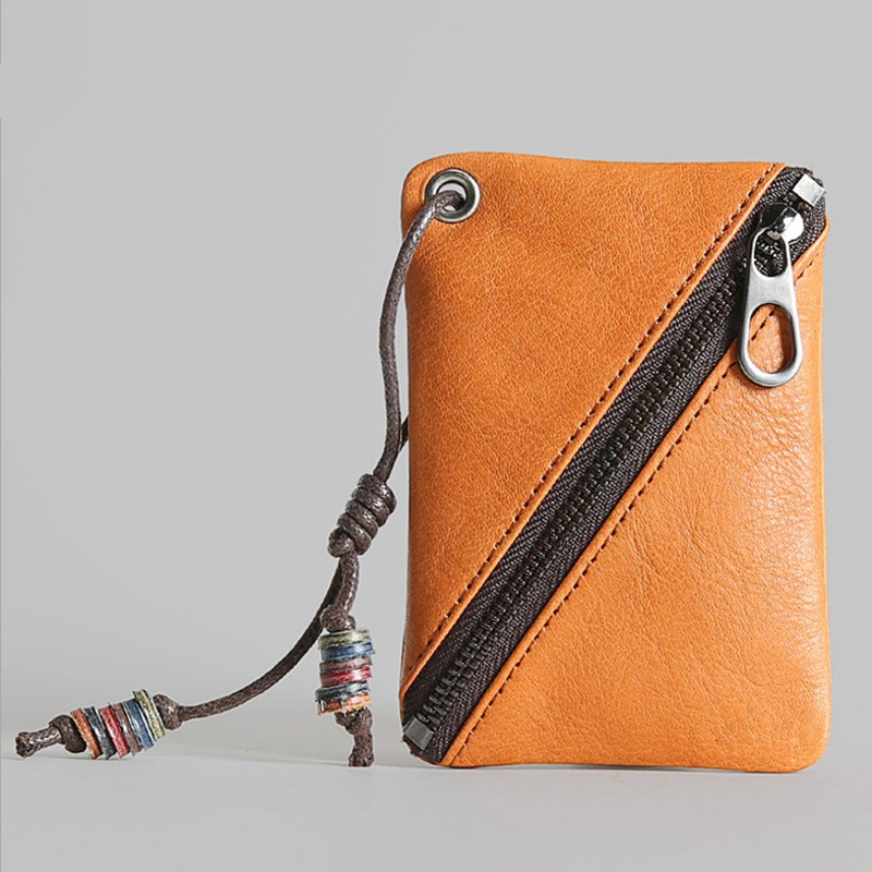 ERAL Traveler's top layer leather coin purse. First layer of mini wallet. Very thin design can put cards and keys. Easy to carry