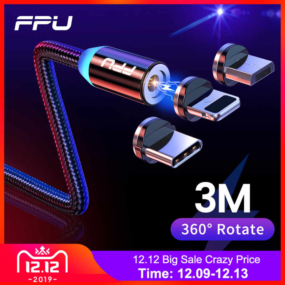 FPU 3m Magnetic Micro USB Cable For iPhone Samsung Android Mobile Phone Fast Charging USB Type C Cable Magnet Charger Wire Cord