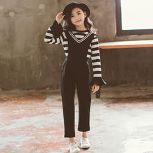 2019 Kids Girls Fashion Clothing Sets 2 pcs Balck White Stripe T-Shirt & Jumpsuit Set for 4 To 13 Years Teen Clothes