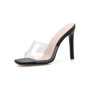Image 2 - Pzilae Size 41 42 PVC woman shoes slip on fashion sandals square toe slides ladies high heel slippers pumps shoes party pumps