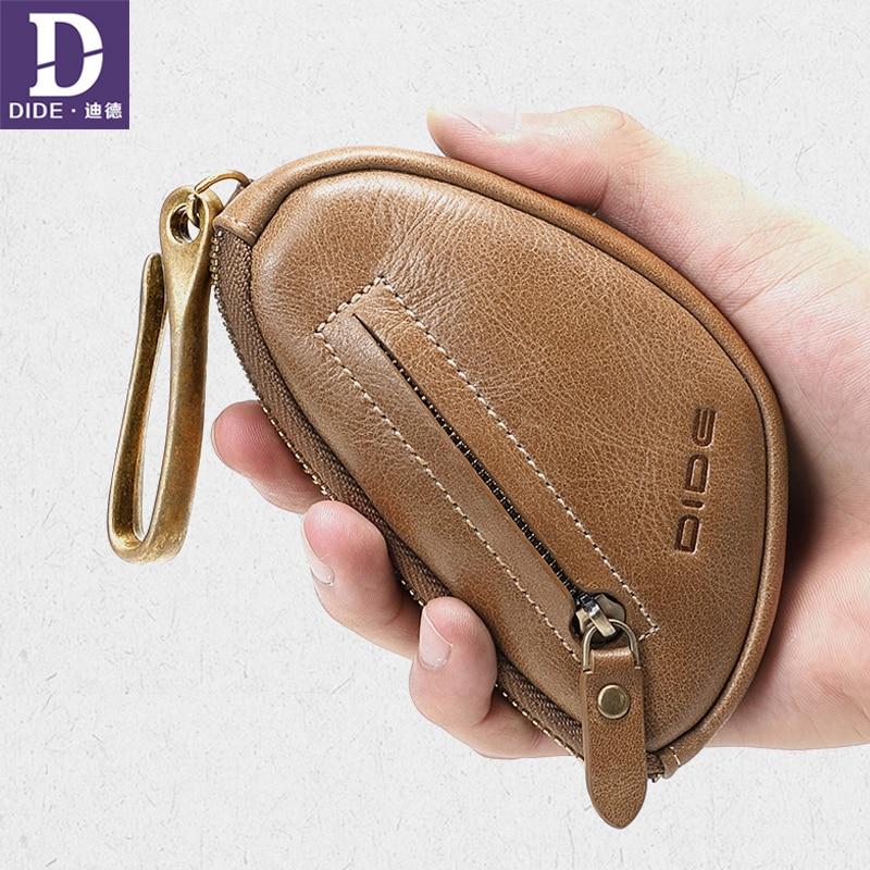 DIDE Brand Key Wallet Mini Coin Wallet Genuine Leather 2019 Housekeeper For Keys Purse Keychain Car Key Case Holder Organizer