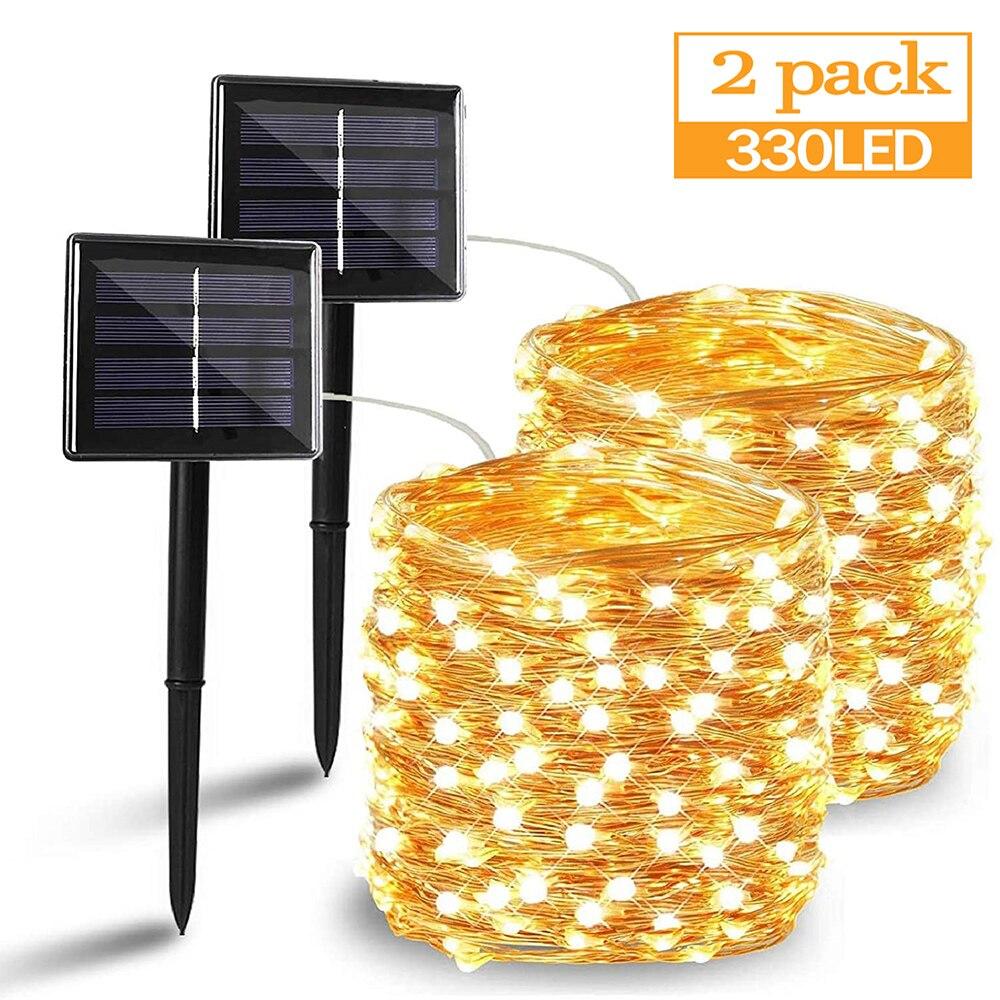 Tira de luces LED solares para exteriores, 50/100/200/330 luces para fiesta navideña, luces tipo Hada a prueba de agua, guirnalda de jardín