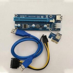 Image 5 - 10 قطعة VER006C PCIe 1x إلى 16x اكسبرس الناهض بطاقة Pci e الناهض موسع 60 سنتيمتر USB 3.0 كابل SATA إلى 6Pin الطاقة للتعدين BTC