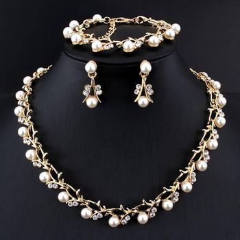 Imitation Pearl Wedding Necklace Earring Sets Bridal Jewelry Sets for Women Elegant Party Gift Fashion Jewelry Set бижутерия bridal jewelry sets wedding necklace earring for brides party accessories gold plated crystal decoration women